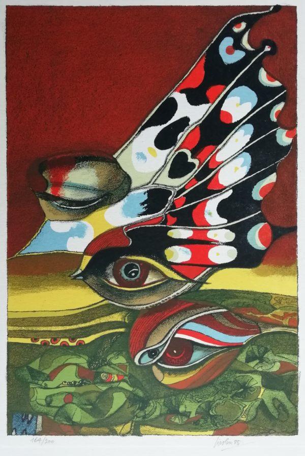 Josef Liesler Oči litografie