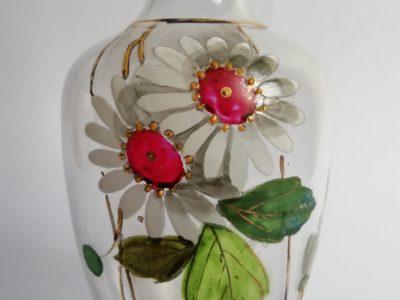 Skleněná karafa - malba květin