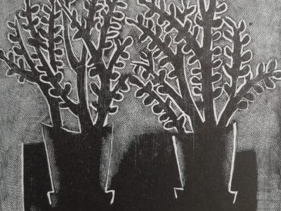 V. Komárek: Květináče dřevoryt