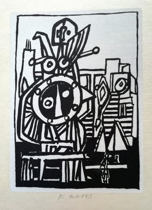 F.Gross Hlava-postava litografie