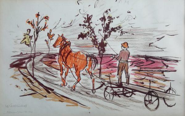 V. Sedláček Podzimní jitro grafika