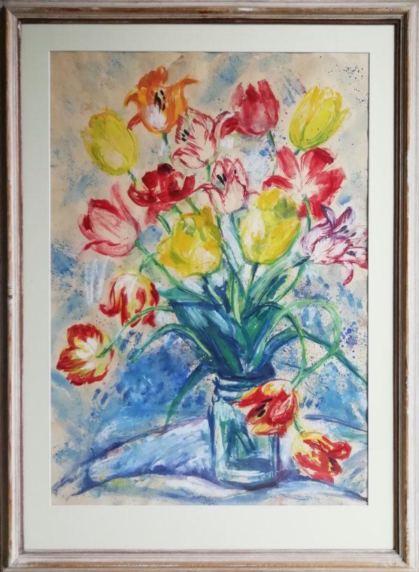 M. Doleželová obraz Váza s tulipány