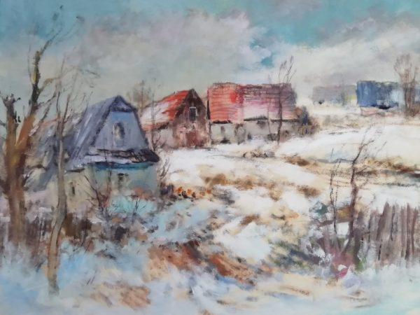 J. Vondráček obraz Zimní krajina s chalupami