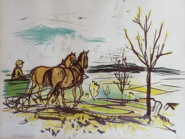 V. Sedláček Podzim u lesa litografie