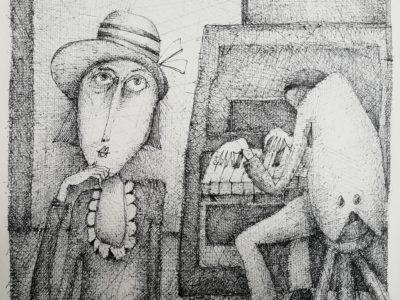 Milan Hencl Nostalgické odpoledne kresba