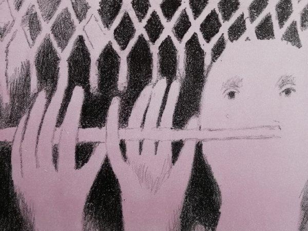 V. Komárek Flétna litografie