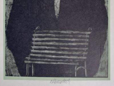 V. Komárek Lavička dřevoryt
